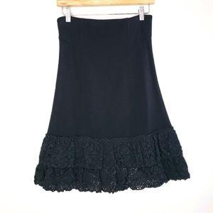 Betsy Johnson Black Crochet Bottom Size 10 Skirt